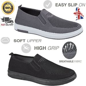 Mens Slip On Flat Casual Shoes Fit To Go Walking Running Summer Shoe Size 7-8 UK