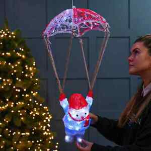 60cm Acrylic Christmas Plug In Parachuting Snowman Outdoor Light Up Decoration