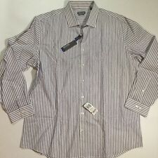 Kenneth Cole Mens Long Sleeves Size 17 1/2 Button Down Shirt In White And Purple