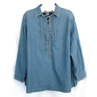 """Avenue 22 24 Top Chambray 54"""" Bust Lace Up Weathered Blue Womens Plus Size"""
