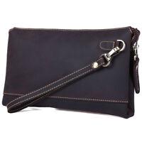 Vintage Men's Real Leather Long Clutch Purse Messenger Bag Handbag Zipper Wallet