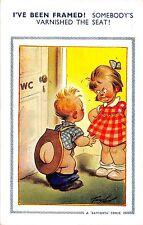POSTCARD  COMIC   BAMFORTH  ( LARGE BROWN TRIANGLE) Children Lavatory  Seat