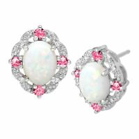 1 1/2 ct Created Opal & Pink Sapphire Earrings with Diamonds in Sterling Silver