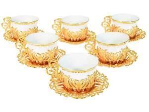 Turkish Tea Coffee Saucers 12 piece  Cups Set Multicoloured Gold Colour Luxury