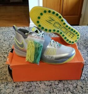 Nike Zoom Revis Oregon Ducks Silver Grey Green Yellow Size 12 Sample PE NEW
