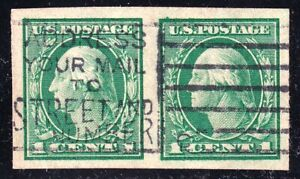 US STAMP #408 – 1912 1c Washington IMPERF USED PAIR SUPERB