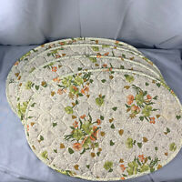 Vintage Quilted Placemats Set of 4 Fall Floral Green Orange Table Decor Linens
