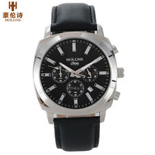 HOLUNS Men Waterproof Chronograph Army Quartz Wrist Watch Leather Band Gift