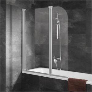 Badewannenfaltwand Wannenaufsatz Spritzschutz Rahmenlos Duschtrennwand Dusche