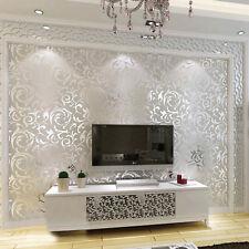 Non-Woven 3D Print Embossed Flower Wallpaper For Living Room Bedroom Silver Grey