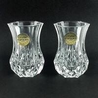 Vintage Cristal d' Arques Pair of Lead Crystal Posy Vases