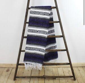 Purple Mexican Falsa Blanket Throw Rug handmade stripe large Authentic fairtrade