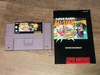 Super Mario All-Stars w/Manual & Case Super Nintendo Near Mint Snes