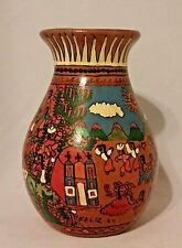 Vintage Hand Painted Vase with Village Church Fiesta Scene Toluca, Mexico