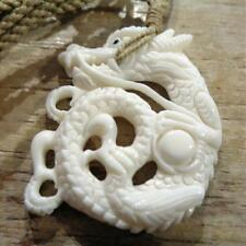 """39MM CARVED CURLED ASIAN DRAGON WATER BUFFALO BONE PENDANT NECKLACE 27"""" ADJ #2"""