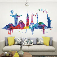 Colorful City Architecture DIY Wall Sticker Decal Removable PVC Home Decor