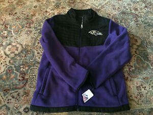 NWT NFL Team Apparel Baltimore Ravens Youth Full Zip Fleece Jacket - M (10/12)