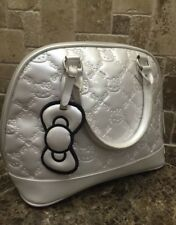 Sanrio Lounge Fly Hello Kitty Pearlized White Embossed Alma Tote Handbag