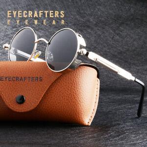 Retro Round Polarized Sunglasses Men Women Vintage Gothic Steampunk Glasses