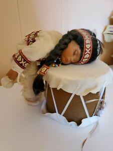 Porcelain Native American Little Brave w/drum
