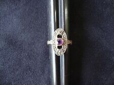 Vintage Solitaire Amethyst w/ Marcasite Accents Sterling Silver Stamped 925 Ring