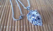 Collana in Acciaio Inox testa di Leone Lion Roar color Argento Maschile Fashion