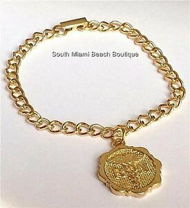 Gold RN Nursing Caduceus Charm Bracelet Nurse Graduation Gift Plated USA Seller