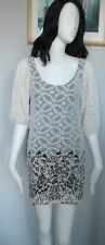 DOROTHY PERKINS - WHITE BLACK LACE, 3/4 SLEEVED,  FLORAL MINI DRESS SIZE 10
