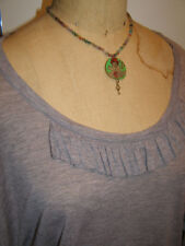 NEW Handmade beaded Necklace with Charm by Maryland artist One of a Kind! USA!