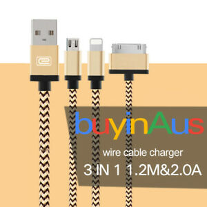 3in1 Durable 1.2M iPhone Android Micro Usb Cable High Speed Charging Data Cable