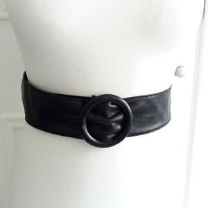 VINTAGE 1980s 80s Style Round Buckle Black Synt. Leather Vegan Ribbon Belt Sz M