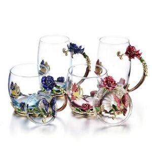 Coffee Mug Crystal Cup Milk Lemon Flower Tea Cup High-grade Glass Drinkware Cup