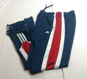 Adidas Youth Sz XL Track Pants Blue Red White Stripes Button Ankles $79.99