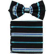 Men's Layer Diamond Shape Pretied Bow Tie & Pocket Square Hankie Turquoise Black