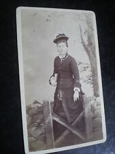 Cdv old photograph woman hat by Webster Oshkosh Wisconsin USA c1880s Ref 512(12)
