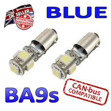 2 x BA9s Blue Canbus LED Number Plate Interior Side Light 5 SMD Bulbs 233 T4W