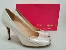 Kate Spade NY Women's Gold Metallic Lizard Embossed Leather High Heel Pumps, 8B