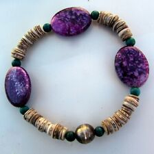 SUGILITE  SHELL CHRYSOCOLLA SILVER Stretch Cord Healing Handmade Bead Bracelet