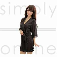 Hot Sexy Silk, Satin Lace Dressing Gown Bath Robe Hot Fashion Nightwear Kimono
