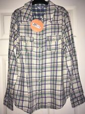 Bhs Natural Teal Check Western Style Long Sleeve Soft Cotton Shirt Size 14 new