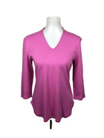 Isaac Mizrahi Women's Size S Pink V-Neck 3/4 Sleeve Knit Top Stretch Essentials