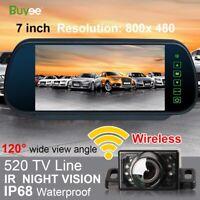 "7"" Mirror Monitor + IR Night Vision Reversing Camera Wireless Car Rear View Kit"
