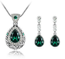 Luxury Vintage Deep Green Teardrop Jewellery Set Drop Earrings & Necklace S528