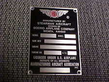 Boeing Stearman Aircraft Data Plate 1930s & 1940s Acid Etched Stainless Steel