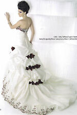 Bridal Wedding Dress Gown Private Label BY G # 1383 Ivory/Silver/Burgundy SZ 18