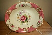 Vntg Myott Staffordshire England Rose Pink oval serving bowl vegetable dish 10""