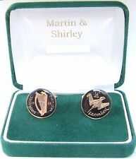 1928 IRELAND cufflinks from OLD IRISH Farthing coins Black Gold