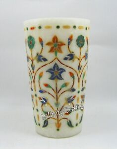 5 Inch Marble Table Masterpieces Planter Elegant Design with Gemstone Flower Pot