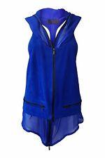 HAIDER ACKERMANN Watts Electric Blue Suede Hooded Waistcoat (IT 38)