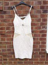 Novo London Bandage  Nude Cream Bralet Bodycon Stretch Dress UK LARGE 12 Bz67